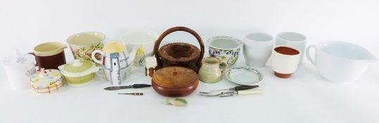 Various ceramic pots, vases, Hornsea storage jar, glass plate, assorted glassware, tea towels,
