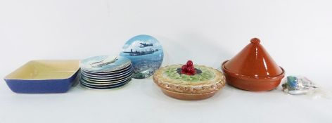 Serving dish, a tagine, a set of 10 Seriesware plates'Heroes Over Home Territory' featuring
