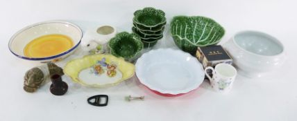 Various cabbage leaf platesmarked 'Made in Portugal', ceramic rabbit vase, Whittard 'The Chatsford'