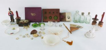 Caspari bridge set, assorted collectables, pressed glass dish'Give Us This Day Our Daily Bread',