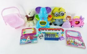 Collection of soft toys and childrens toysto include Etch a Sketch, elephant ball game, small piano