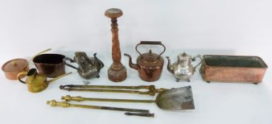 Quantity of assorted collectables and household itemsincluding wooden candlestick, mixing bowls,