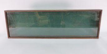 Wooden display casewith glazed top, 106cm x 33cm x 9cm