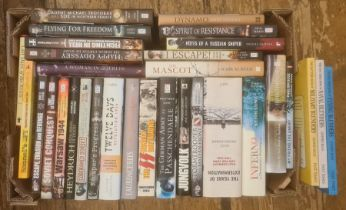 Militairia, four boxes of books and DVDs on the subject of war, including WWII, to include