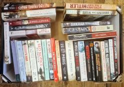 """Militaria, three boxes of books and DVDs on the subject of war, to include Burt & Leasor """"The One"""