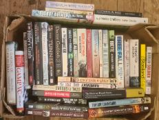 """Militaria, three boxes of books mainly on the subject of WWII, to include Brian Lett """"SAS in Tuscany"""