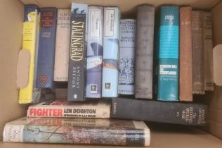 """Militaria, three boxes of books on the subject of war, to include Piers Brendon """"The Dark Valley,"""
