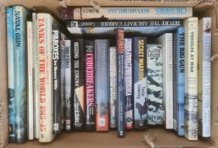 """Militaria, three boxes of books on the subject of war, to include John Nigel George """"English Pistols"""
