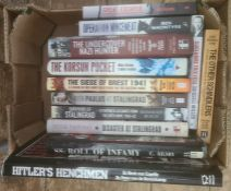 """Militaria, three boxes of books mainly on the subject of WWII, including Tim Bean and Will Fowler """""""