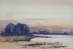 Arthur Gee (1934-2011) Watercolour Ducks at sunset, signed lower left, 51 x 73cm