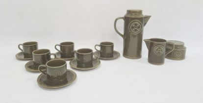 Jon Anton ironstone Agincourt pattern part coffee service, circa 1960's/70's, printed marks, moulded