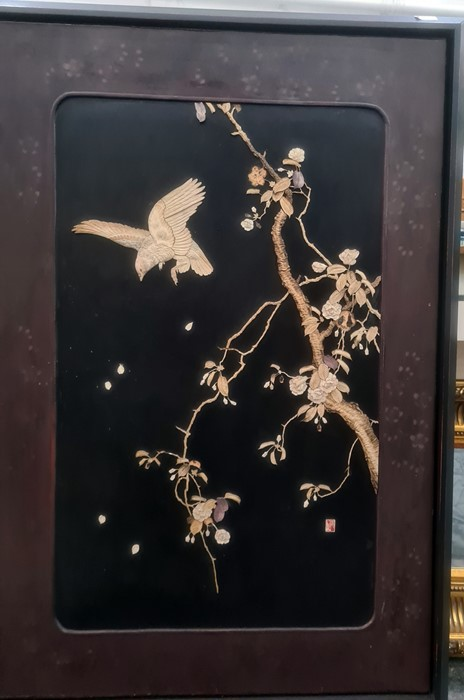 Pair Japanese shibayama lacquer panels, bone and mother-of-pearl inlaid, birds on flowering