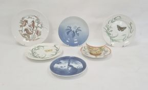 Five Bing & Grondahl platesto includeblue and white floral dish, seahorse plate, two butterfly
