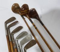 Assorted golf clubsto include left-handed wood-handled clubs, a Gibson & Co Ltd of Scotland King
