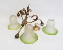 20th century ceiling light with frosted green glass shades