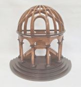 Partly ebonised wood architectural model of a round arch enclosing twin flights of stairs, all on