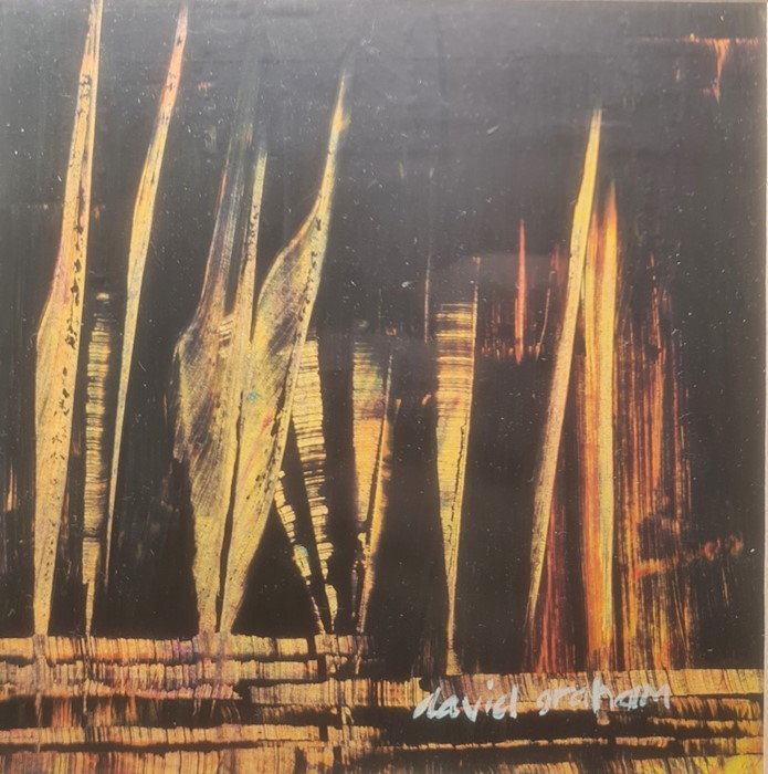 David Graham (20th century) Oil on card Orange highlights on a black ground, 11cm x 11cm