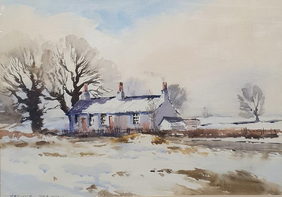 Arthur Gee (1934-2011) Watercolour Cottage in a winter landscape, signed lower left, 51 x 73cm