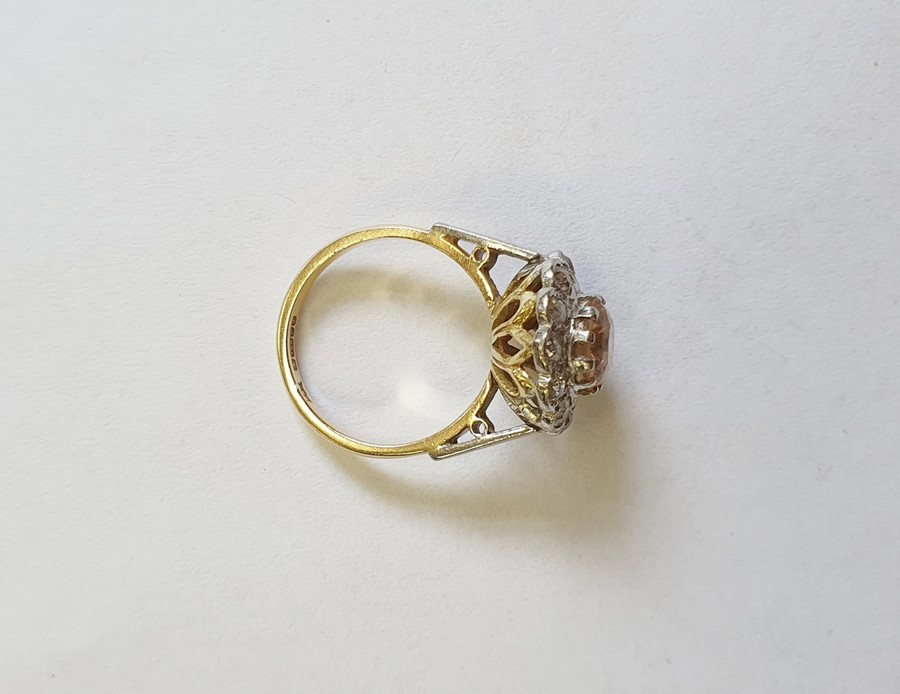 18ct gold, champagne topaz and diamond cluster ring, the centre oval mixed cut topaz surrounded by - Image 4 of 5