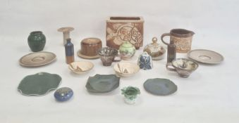 Quantity studio pottery itemsto include vases, covered butter dish and other items