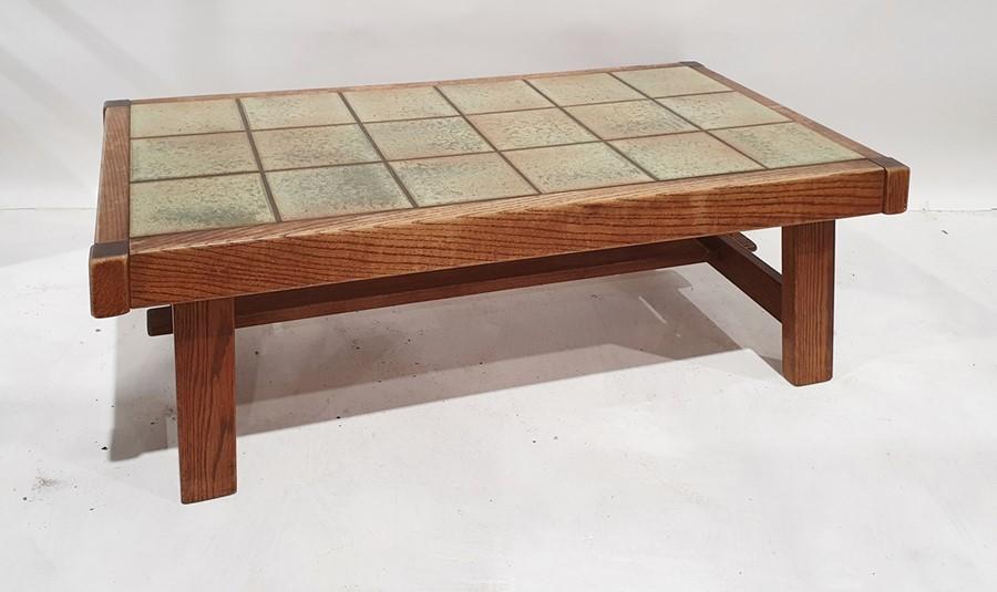 20th century tile-top coffee table on oak frame, 132 x 43cm