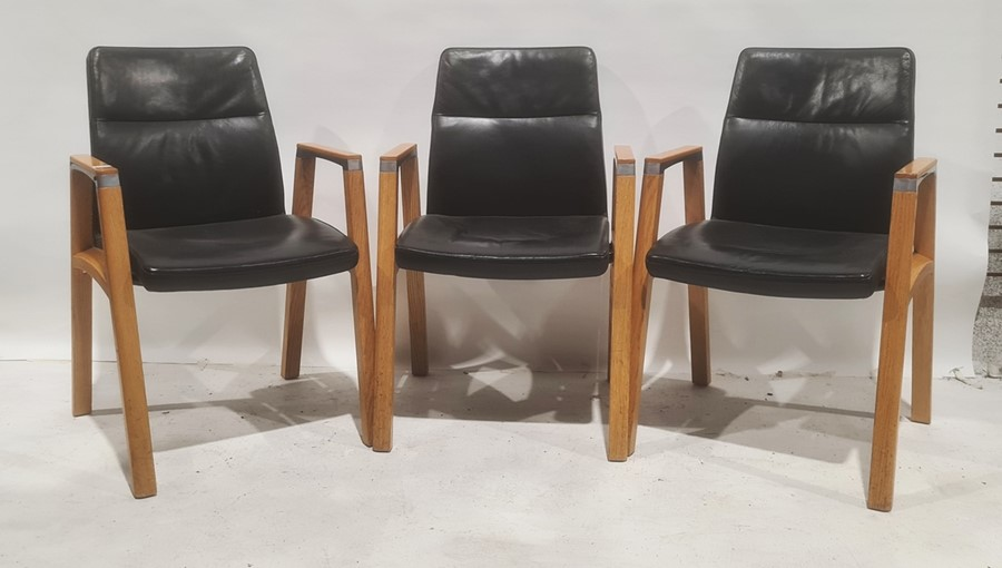 Set of five oak-framed and black leather upholstered office chairs manufactured by Sven Christiansen
