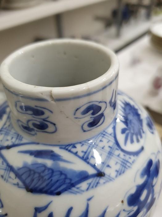 Chinese porcelain hexagonal jar and cover, underglaze blue decoration of lakeside landscape - Image 20 of 25