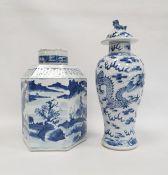 Chinese porcelain hexagonal jar and cover, underglaze blue decoration of lakeside landscape