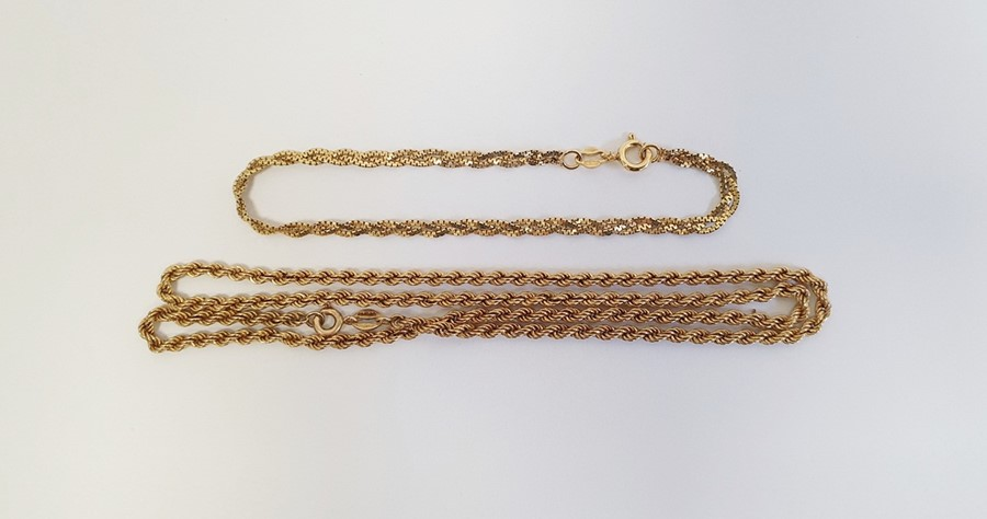 9ct gold chain link bracelet, 2g approx. and a 9ct gold twist chain link necklace, 3g approx.