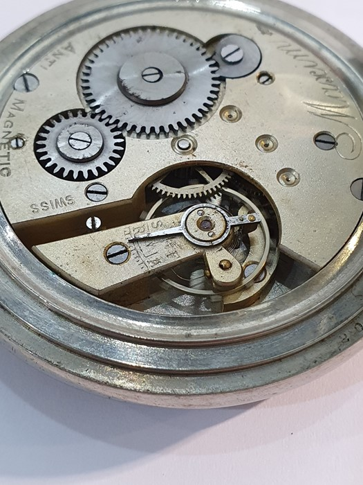 Silver open-faced pocket watch, the enamel dial with subsidiary seconds dial (glass broken), a - Image 14 of 19
