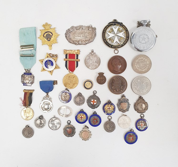 Quantity of silver curb link watch chains, some hung with silver fobs, a silver curb link bracelet - Image 2 of 27