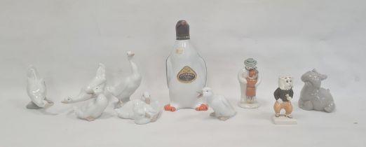 Six various Nao model geese, a Nao hippopotamus, 11cm approx, a Beswick 'Pong Ping', Royal