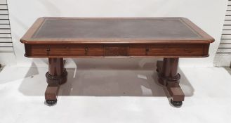 Late 19th/early 20th century large mahogany deskwith leather inset top rectangular with rounded