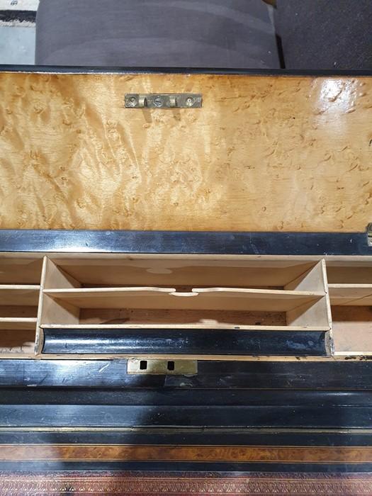 Partly ebonised burrwood 19th century Davenport deskwith leather inset to the slope, 57cm x 90cm - Image 8 of 9