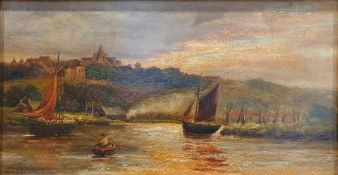 British school (late 19th/early 20th century) Oil on canvas Boats on a lake with town beyond,