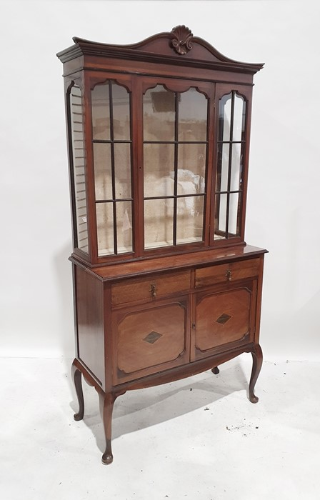 20th century mahogany display cabinet with astragal glazed door above two drawers, two cupboard