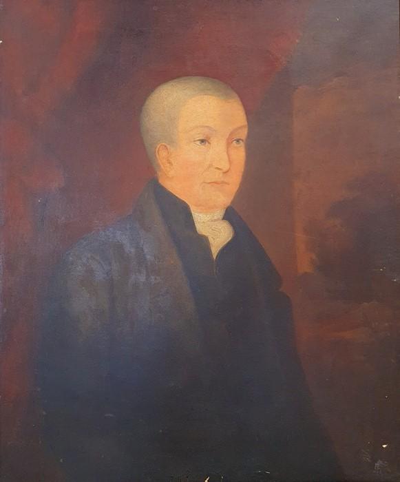 British school (19th century) Oil on canvas Half-length portrait of a gentleman in a black coat,