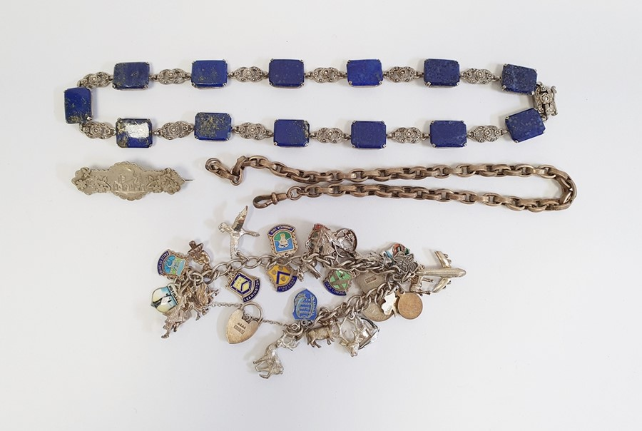 Necklace comprising of alternate rectangular lapis lazuli and marcasite links, a Victorian silver-