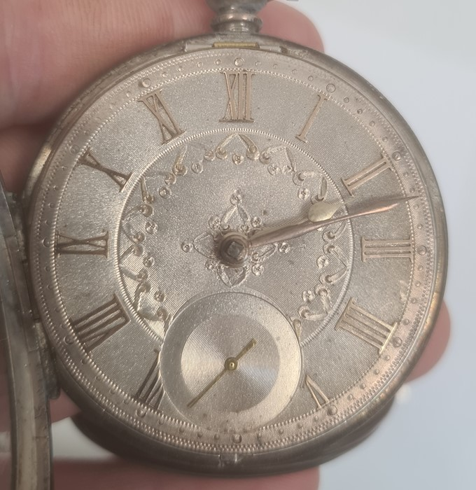 Silver open-faced pocket watch, the silver dial with Roman numerals and subsidiary seconds dial - Image 3 of 5