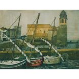 """Maureen Black - 20th century Artist proof etching """"Evening in Collioune"""", signed and titled in"""