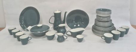 Teal, blue and white Poole pottery part dinner/coffee service, mainly for six, to include:- dinner