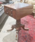 Mahogany drop-leaf work table, the top with rosewood stringing above two drawers, rectangular