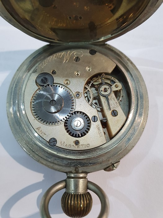 Silver open-faced pocket watch, the enamel dial with subsidiary seconds dial (glass broken), a - Image 9 of 19