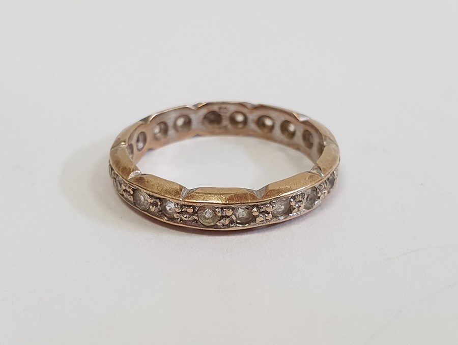 22ct gold wedding ring, narrow and worn, approx. 2g and a 9ctgold ring set tiny diamonds (two - Image 4 of 4