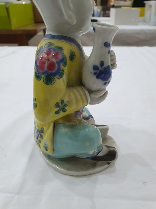 Pair of Chinese porcelain seated figures, laughing boys, each holding a blue and white vase, 16cm - Image 22 of 26