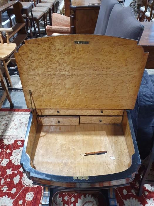 Partly ebonised burrwood 19th century Davenport deskwith leather inset to the slope, 57cm x 90cm - Image 2 of 9