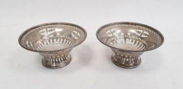 Pair of Edwardian silver bonbon dishesby W H Haseler Ltd, Birmingham 1907, of circular pedestal