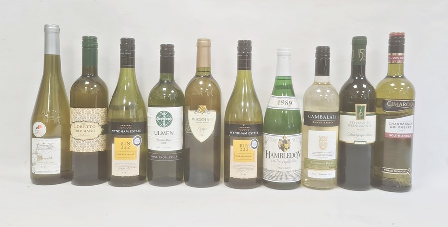 Ten various white wines from Australia, England, Chile, etc to include two Wyndham Estate Bin 222