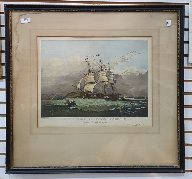 """After N Condy Engraving """"HMS Malabar Leaving Harbour"""", signed in pencil by Geoffrey Garnier, the - Image 2 of 2"""