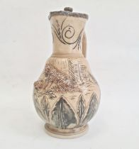Hannah Barlow Doulton Lambeth salt glazed stoneware jugwith silver hinged lid, sgraffito engraved